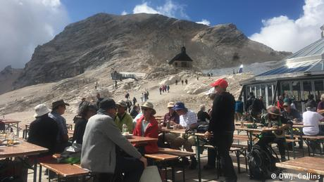 People having food and drinks on the Zugspitze