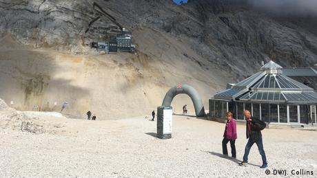 Tourists on Germany's highest peak, the Zugspitze