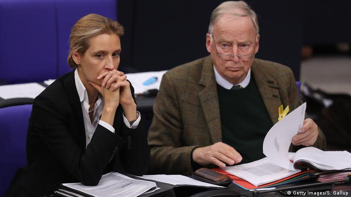 Alice Weidel and Alexander Gauland attend a Bundestag session