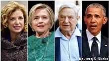 USA Kombibild Debbie Wasserman Schultz, Hillary Clinton, George Soros und Barack Obama