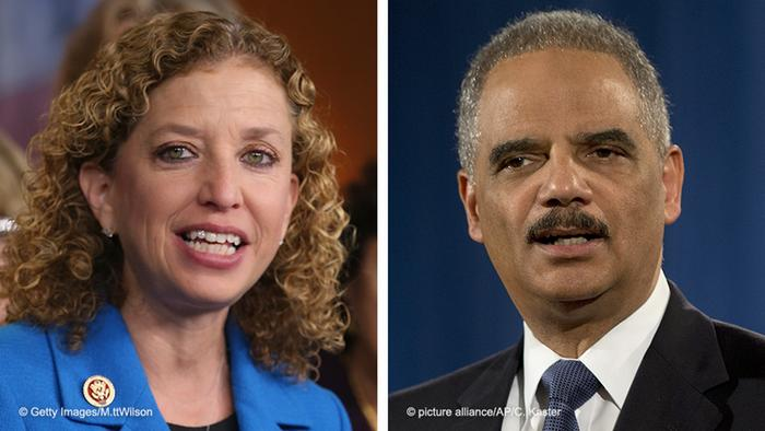 Debbie Wasserman Schultz and Eric Holder pictured side by side