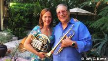 USA Sarah Willis mit dem Jazz-Trompeter Arturo Sandoval