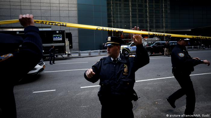 Police in front of the Time Warner Building in NYC