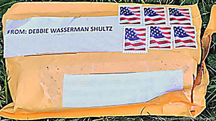 A photo of one of the packages carrying a pipe bomb