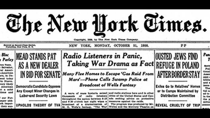 Notícia do New York Times em 31/10/1938: Ouvintes radiofônicos em pânico, tomam peça de guerra como fato