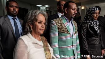 Ethiopia's first female president,Sahle-Work Zewde, together with Prime Minister Abiy and other officials (Getty Images/AFP/E. Soteras)