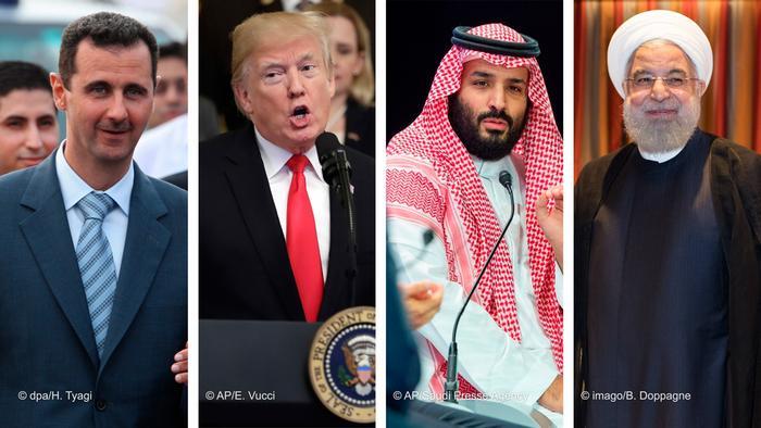 Bildkombo: Assad, Trump, Ben Salman, Rohani