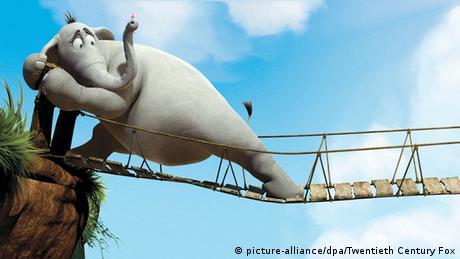 Der Zeichentrickfilm-Elefant Horton versucht, eine wackelige Hängebrücke zu betreten