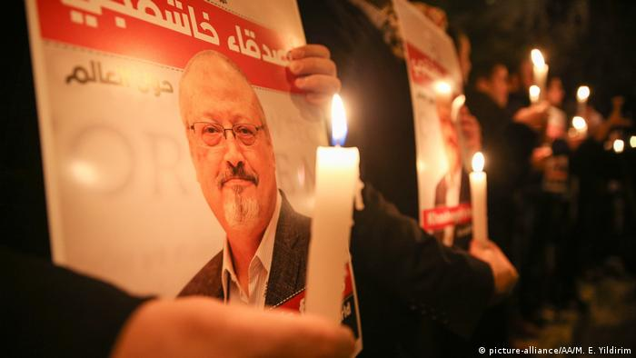 A protest vigil in Istanbul, Turkey for slain journalist Jamal Khashoggi (picture-alliance/AA/M. E. Yildirim)