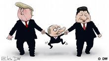Sergey Elkin Karikatur Trump Putin Xi