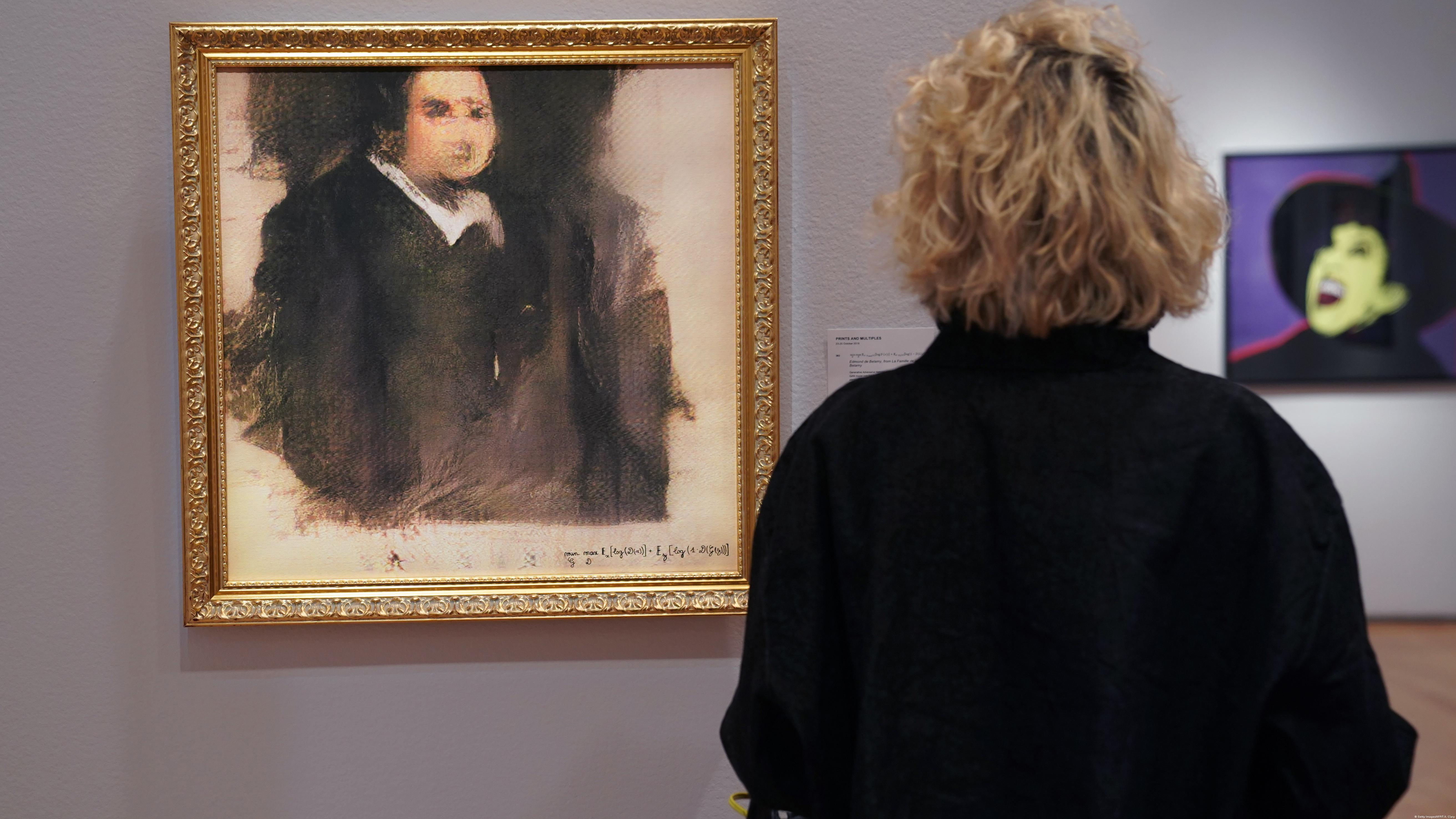 A woman looks at a work of art created by an algorithm