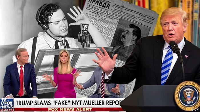 Colagem com Orson Welles, noticiário da Fox News w Donald Trump