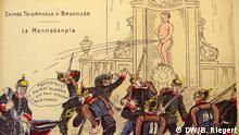 An illustration shows the Manneken Pis urinating on German soldiers