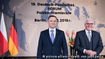 Bundespräsident Steinmeier und sein polnischer Kollege Duda im Oktober 2018 beim Deutsch-polnischen Forum in Berlin