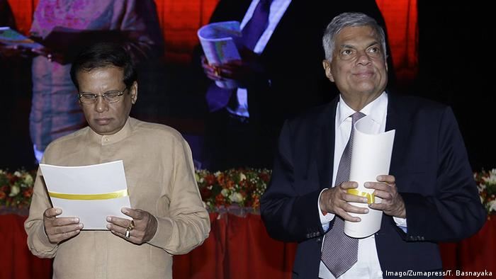 President Maithripala Sirisena und ex-Prime MinisterRanil Wickramasinghe