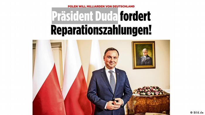 Screenshot Bildzeitung Polen Präsident Andrzej Duda