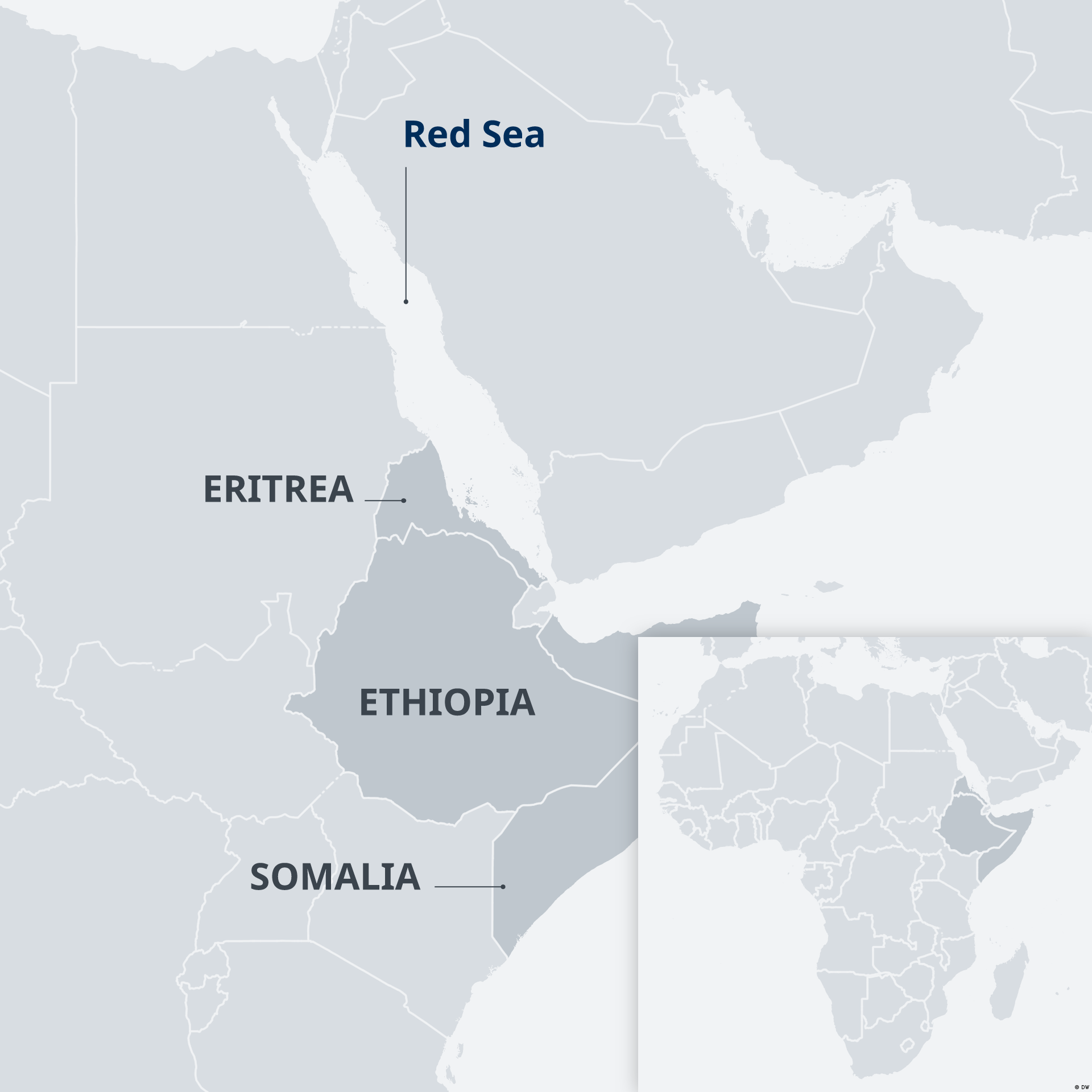 A map of the Horn of Africa and the Red Sea