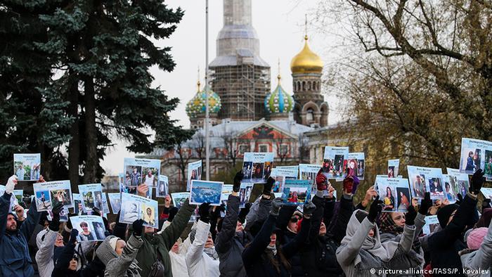 Во время акции протеста в Санкт-Петербурге За ваших и наших детей