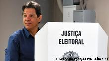 Brazilian presidential candidate for the Workers Party (PT) Fernando Haddad, votes at a polling station in Sao Paulo, Brazil during the second round of the presidential election, on October 28, 2018.