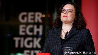 Deutschland - Landtagswahl Hessen - Reaktion der SPD - Andrea Nahles (Reuters/H. Hanschke)