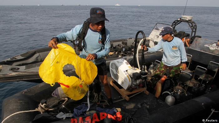 Men holding life jackets on a rescue boat