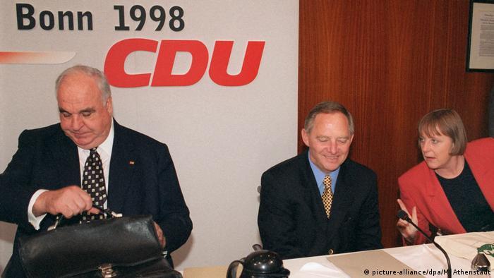 Helmut Kohl, Wolfgang Schäuble y Angela Merkel.