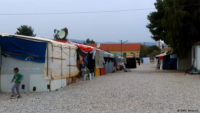 Makeshift huts in a refugee camp