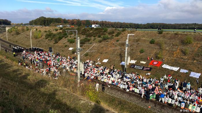 Protesters block the Hambach coal train rail line