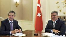 In this photo released by the Turkish Presidency Press Office, NATO Secretary General Anders Fogh Rasmussen, left, and Turkish President Abdullah Gul meet at the Cankaya Palace in Ankara, Turkey, Thursday, Aug 27, 2009. NATO new secretary general is paying a two-day visit to Turkey the alliance's only Muslim member whose leaders initially opposed his candidacy over the Prophet Mohammed caricatures' dispute. (AP Photo/Murat Cetinmuhurdar, Turkish Presidency Press Office) ** EDITORIAL USE ONLY **