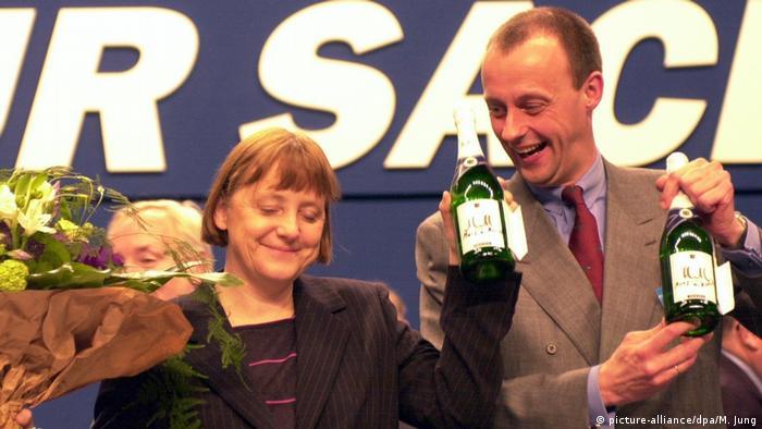CDU leader Angela Merkel with Friedrich Merz during happier days
