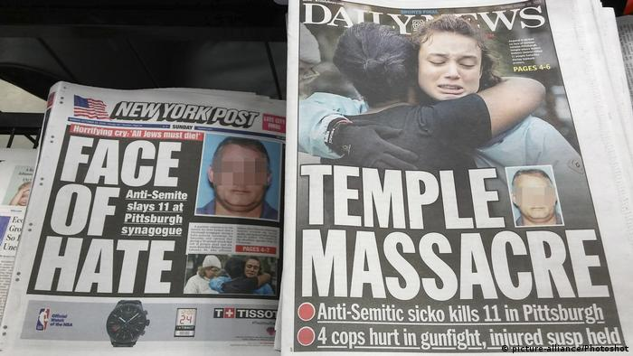 Front pages of New York newspapers on Sunday, October 28, 2018