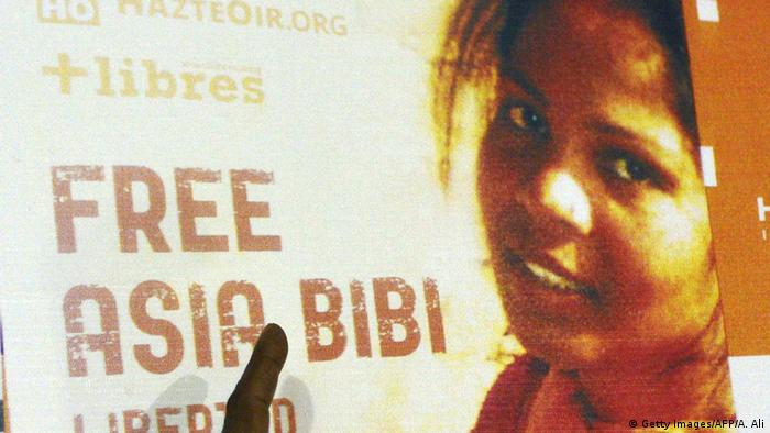 A poster bearing an image of Asia Bibi with the words 'Free Asia Bibi'