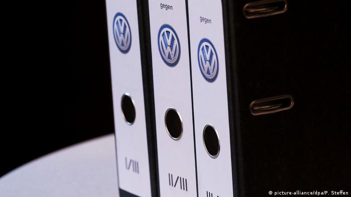 Folders with VW's logo on them