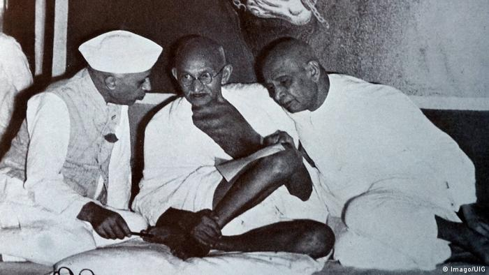 1947 - Mohandas Karamchand Gandhi with Sardar Patel and Jawaharlal Nehru