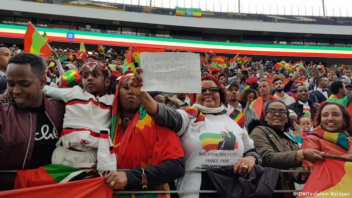 Ethiopians decked out in their national colors in an arena in Frankfurt