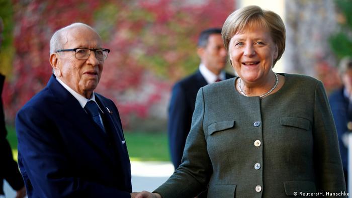 German Chancellor Angela Merkel with Tunisian President Beji Caid Essebsi in Berlin