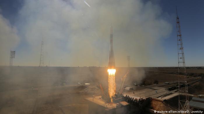 Hier sieht noch alles gut aus: Start der Sojus-Rakete am 11. Oktober in Baikonur