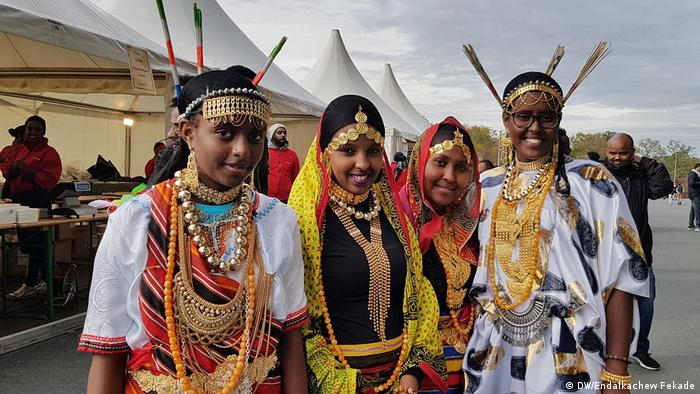 Four Ethiopian ladies in tradtional costumes