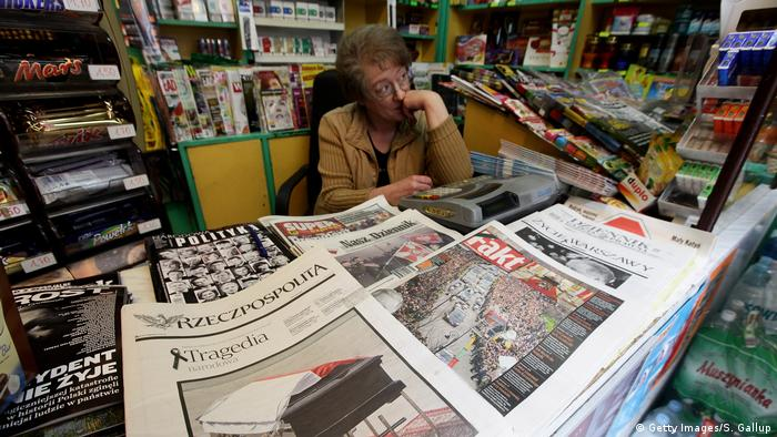 Newspapers in a Polish kiosk
