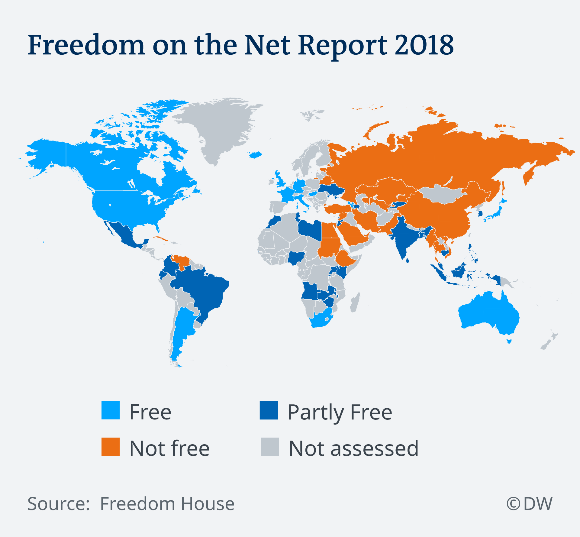 Map of the Freedom on the Net Report 2018