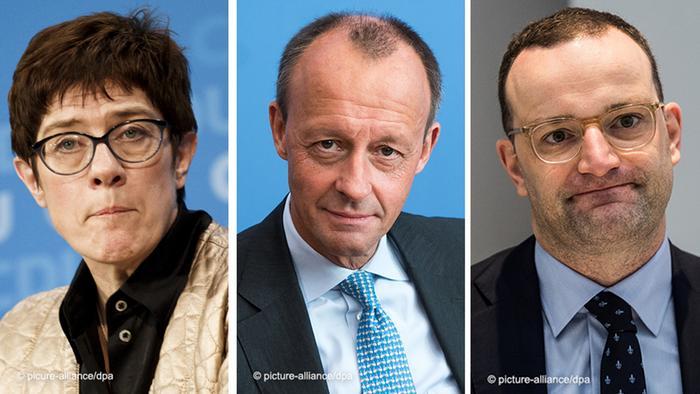 Annegret Kramp-Karrenbauer, Friedrich Merz şi Jens Spahn