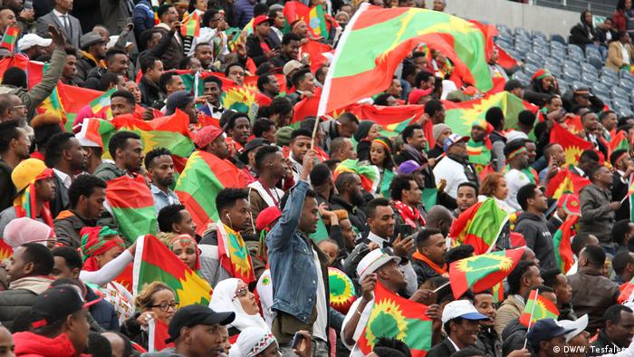 Crowds of flag waving Ethiopians in the Frankfurt Arena in October 2018 (DW/W. Tesfalem)