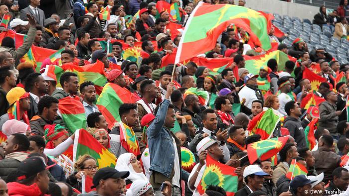 Crowds of flag waving Ethiopians in the Frankfurt Arena in October 2018