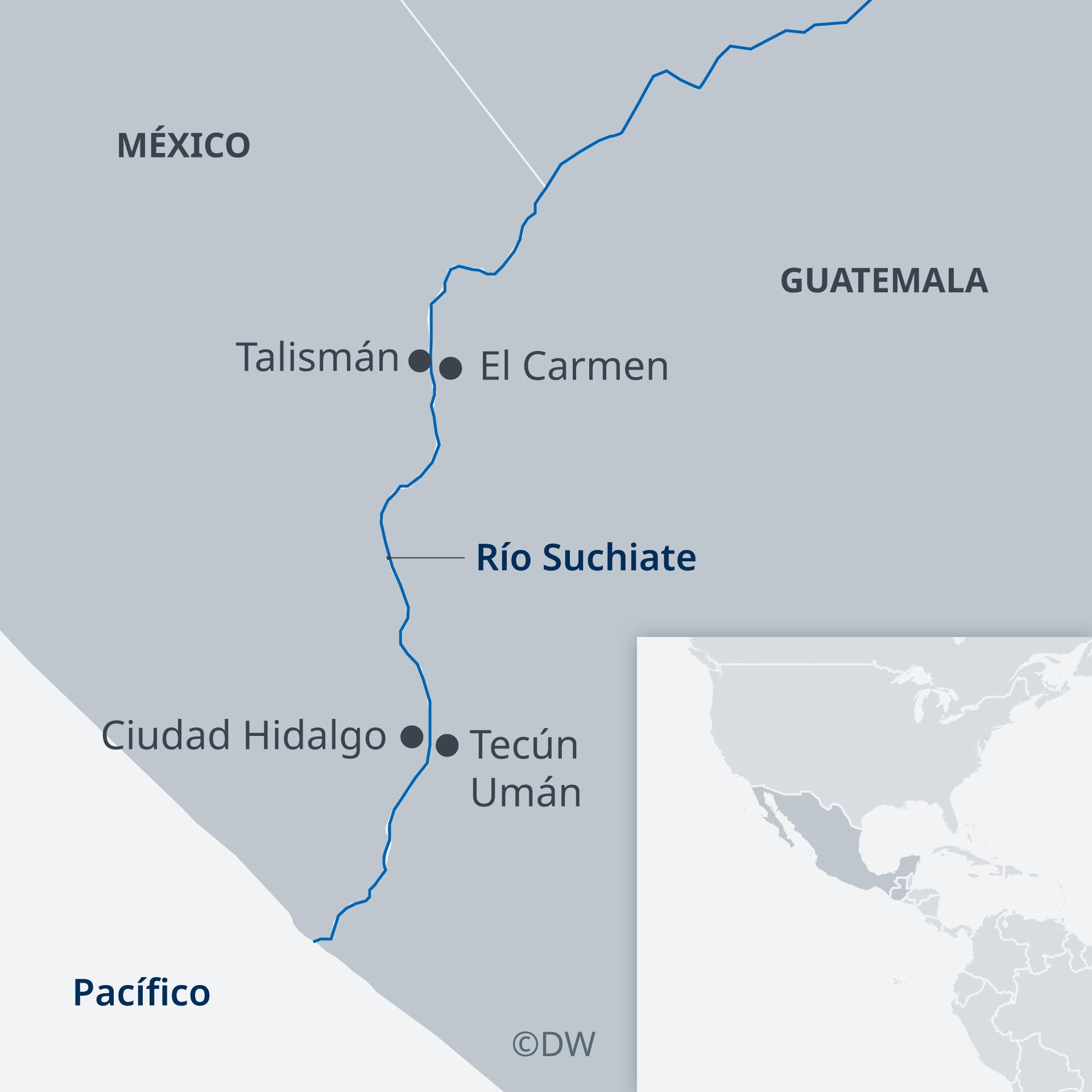 Los puestos fronterizos utilizados por las caravanas de migrantes centroamericanos.