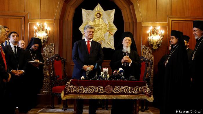 Ukrainian President Petro Poroshenko with Ecumenical Patriarch Bartholomew I in Istanbul
