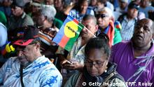 Supporters attend the closing meeting of the Kanak and Socialist National Liberation Front (FLNKS) campaign for a 'yes' to New Caledonia's independence from France in Noumea, on the French overseas territory of New Caledonia, on October 30, 2018. - The referendum on New Caledonia's independence from France will take place on November 4, 2018. (Photo by Theo Rouby / AFP) (Photo credit should read THEO ROUBY/AFP/Getty Images)