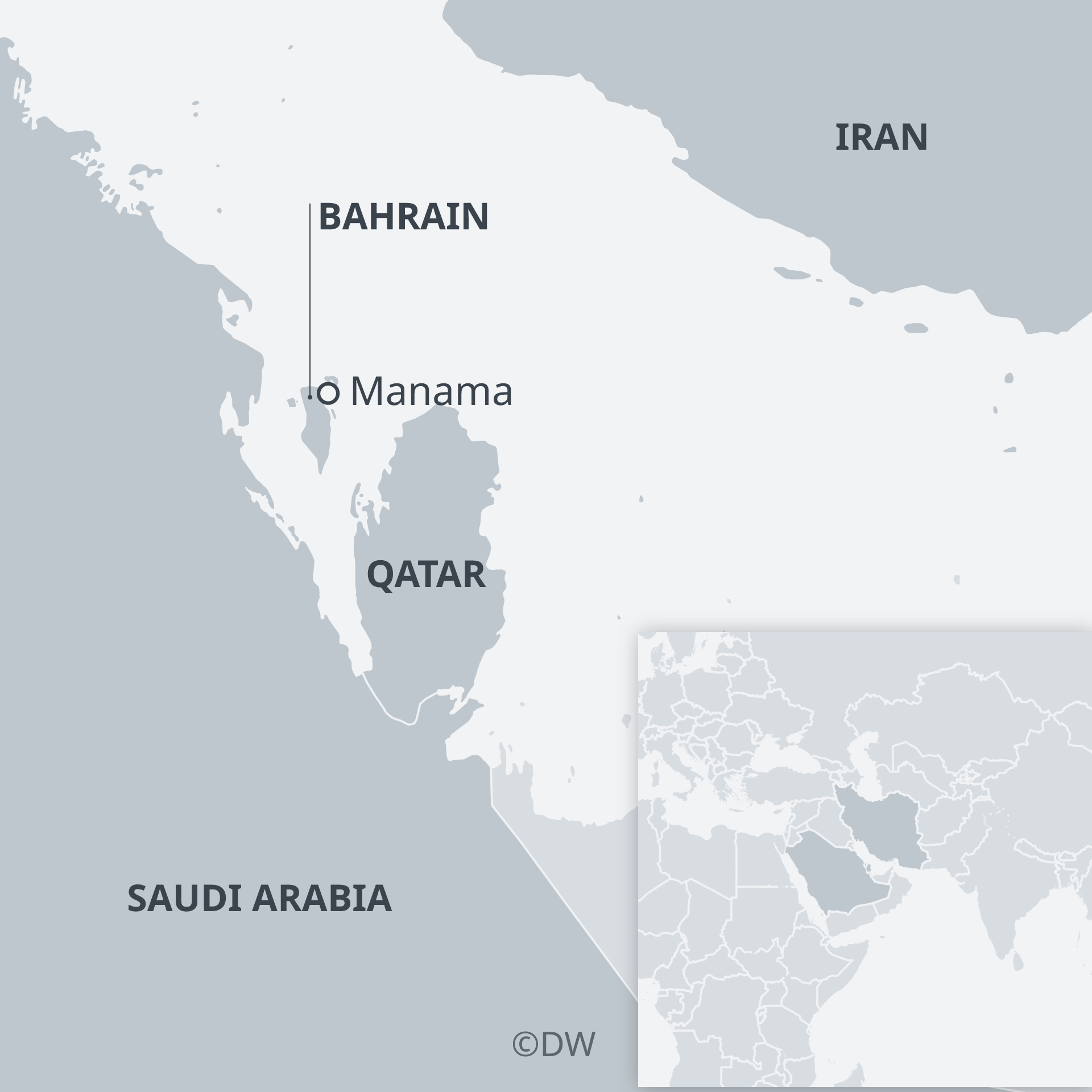 Map of Bahrain and surrounding countries