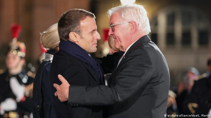 Macron and Steinmeier greet each other in Strasbourg