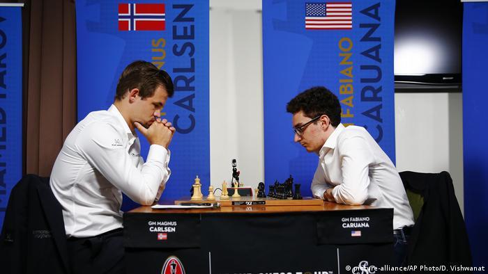 Schach Magnus Carlsen und Fabiano Caruana