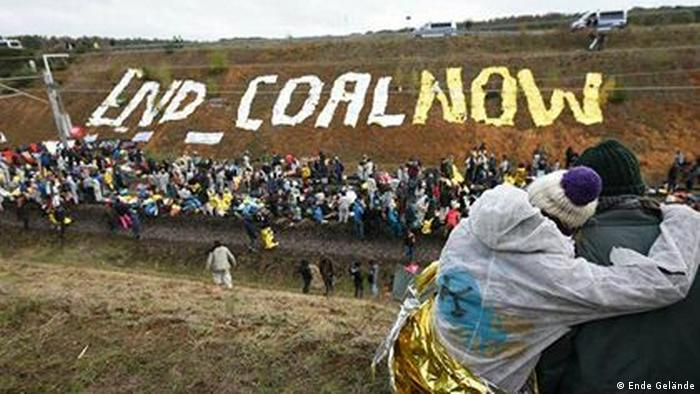 Protesters in Germany spell out 'End Coal Now'